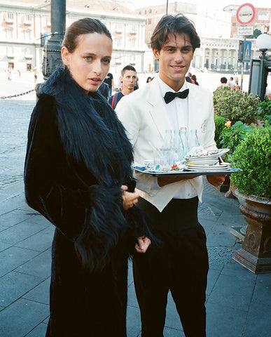 Marei1998. Maya's Diary. Napoli. Powderpuff Long Velvet Coat In Black Color.