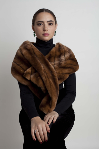 Marei1998. Maya's Diary. Maya Studio. Sage Faux Fur Stole In Brown Color.