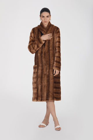Marei1998. Maya's Diary. Carry On. Echinacea Long Faux Fur Coat In Brown Color. Front View.