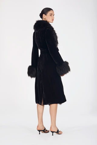 Marei1998. Maya's Diary. Carry On. Powderpuff Long Velvet Coat In Black Color. Front View.