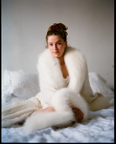 Marei1998. Maya's Diary. Home Diary. Powderpuff Long Velvet Coat In White Color.