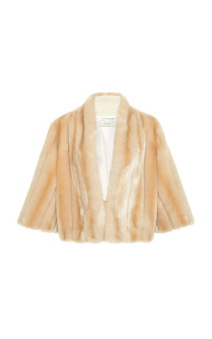 A front view of Marei1998 Acomis Eco Faux Fur Bolero. Made from sumptuous Eco Faux Fur, this Marei1998 coat is an ideal winter piece. Hitting just below the waist, it adds a touch of glamour to every outfit. Composition: 85% Acrylic, 15% Polyester.