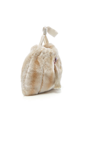 Frangipani_Eco_Faux_Fur_Small_Handbag_Beige_Side
