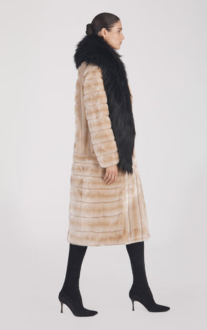 Marei1998's Timeless Echinacea Long Faux Fur Coat In The Classiest Natural/Beige Color. Featuring Calf Length, Oversized Silhouette And Wide Shawl Neckline. Investment Piece / Winter Essential. As Worn By The Model. Side View. Resort 2020 Collection - Furless Friendship.