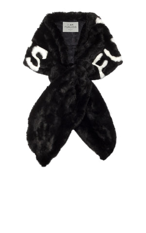 A Packshot Of Marei1998's Furless Faux Fur Stole In Black Color. Exclusively Designed As Part Of Marei1998's Furless Label, This Stole Is A Bold Statement Piece. Cut In A Wide Silhouette, It Is Crafted From Plush Faux Fur In Black Color, Featuring White Jacquard Design.