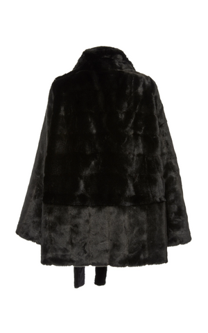 A Packshot Of Marei1998's Yoshino Faux Fur Coat In Black Color. Cut In A Slight A-line Silhouette, It Features V-neckline And Bell Sleeves. Matching Tie-up Belt Defines The Waist. Back View. Resort 2020 Collection - Furless Friendship.