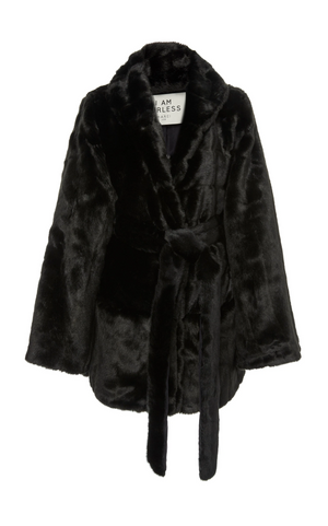 A Packshot Of Marei1998's Yoshino Faux Fur Coat In Black Color. Cut In A Slight A-line Silhouette, It Features V-neckline And Bell Sleeves. Matching Tie-up Belt Defines The Waist. Front View. Resort 2020 Collection - Furless Friendship.