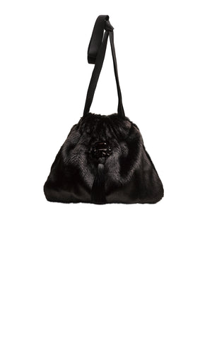 Frangipani Eco Faux Fur Small Handbag Black_Front