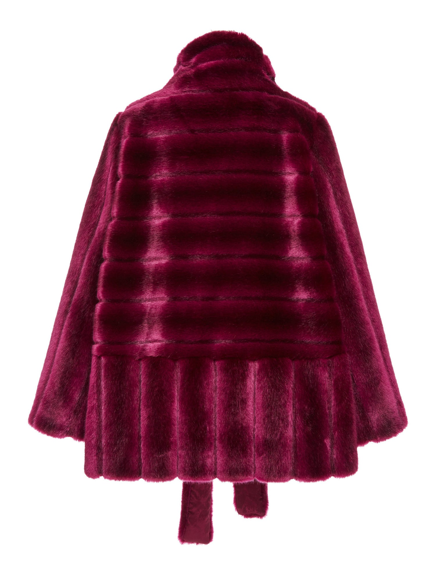A Packshop Of Marei1998 Yoshino Coat In Bold Raspberry Hue. Perfect For Cold Weather, This It Is Made From Plush Faux Fur, Which Feels So Warm And Comfortable. Cut In A Slight A-Lined Shape And Fully Lined, It Is Ideal For Smooth Layering. Back View.