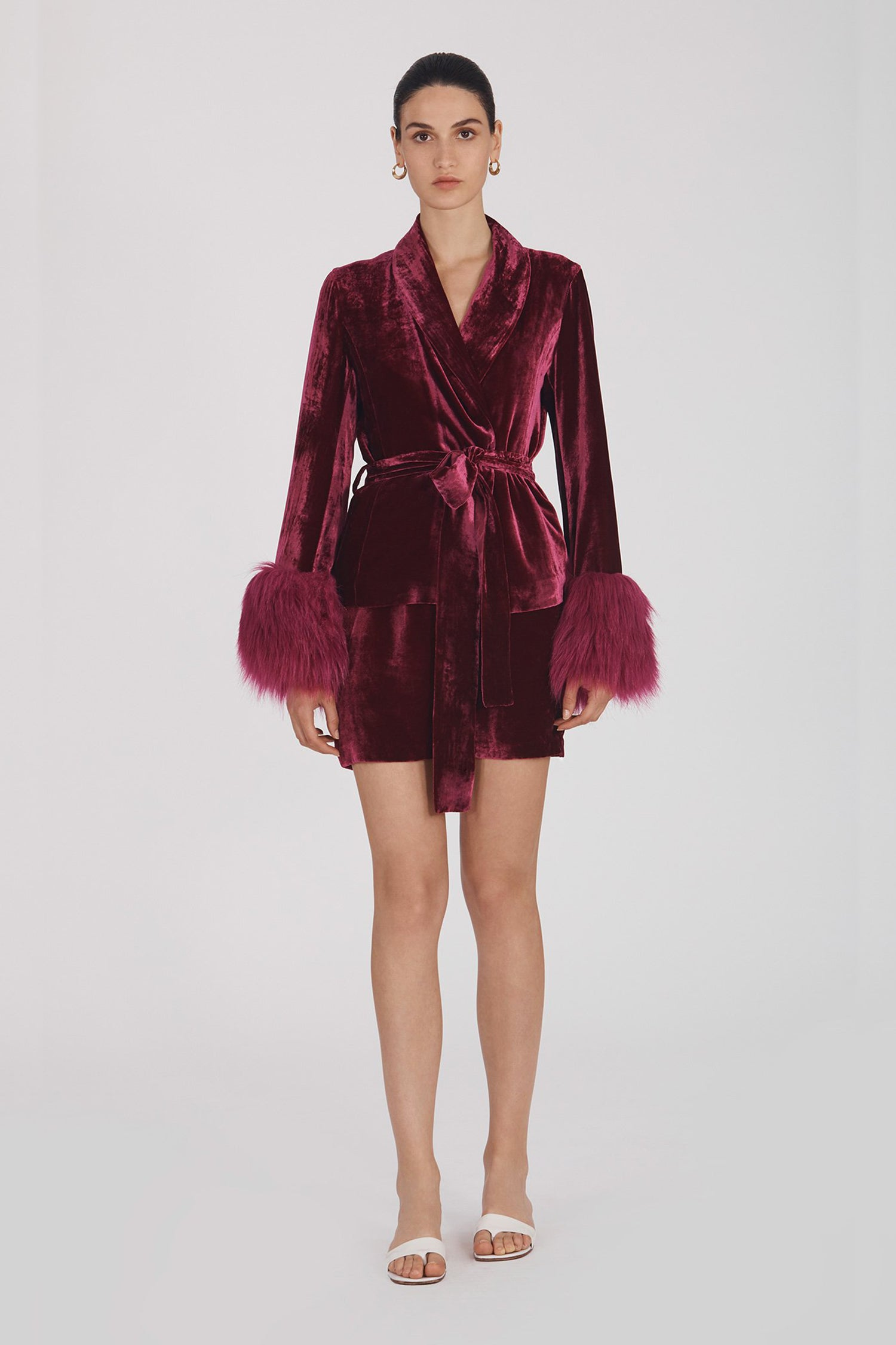 Marei1998's Clarkia Silk Velvet Jacket In Bold Raspberry Color. Featuring Lapel Collar and Bell Sleeves, Trimmed With Faux Fur. Matching Tip-up Belt To Define The Waist. Front View. Resort 2020 Collection - Furless Friendship.