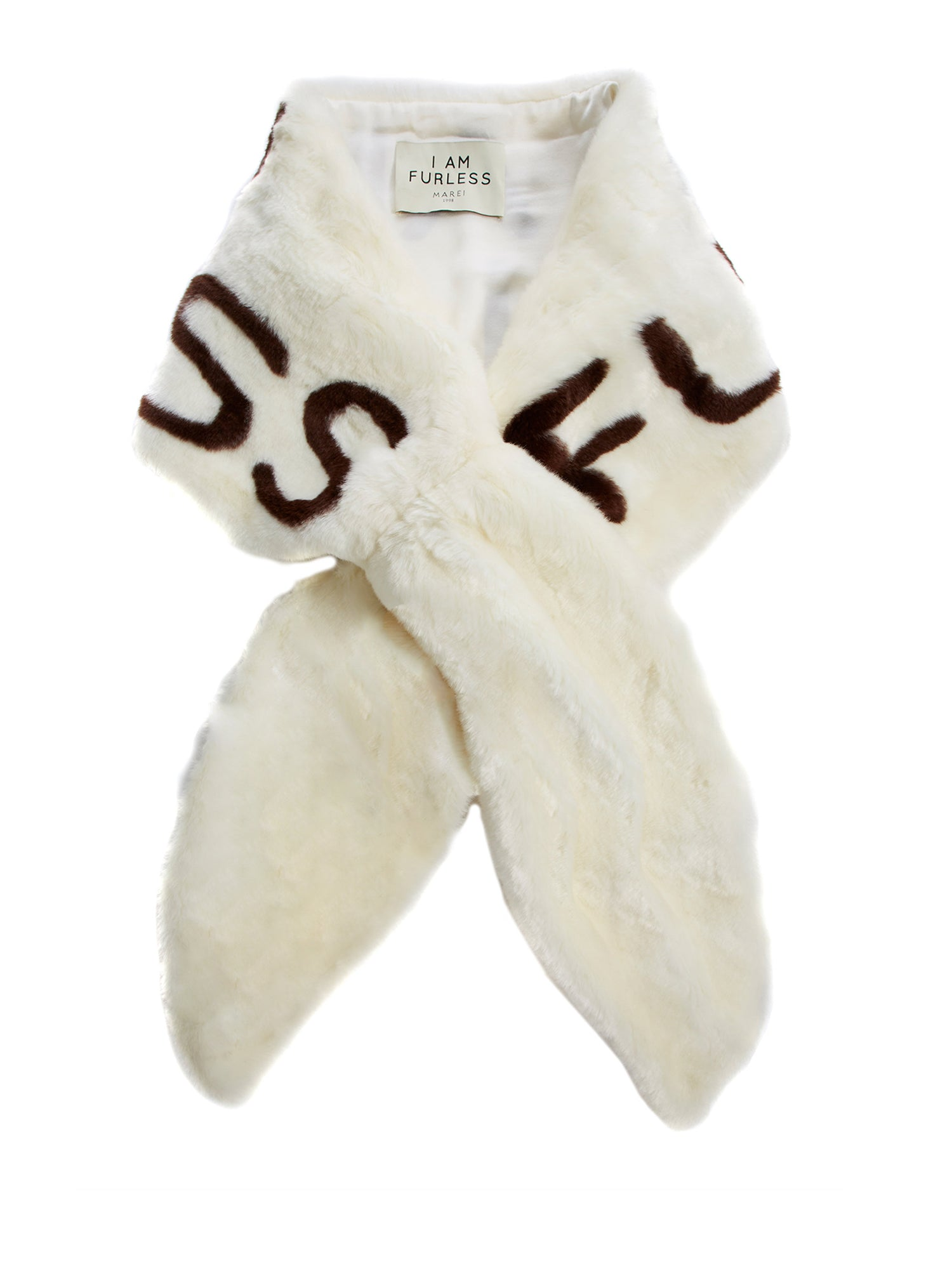 A Packshot Of Marei1998's Furless Faux Fur Stole In Off White Color. Exclusively Designed As Part Of Marei1998's Furless Label, This Stole Is A Bold Statement Piece. Cut In A Wide Silhouette, It Is Crafted From Plush Faux Fur In Neutral Hue, Featuring Jacquard Design In Dark Brown. Front View.