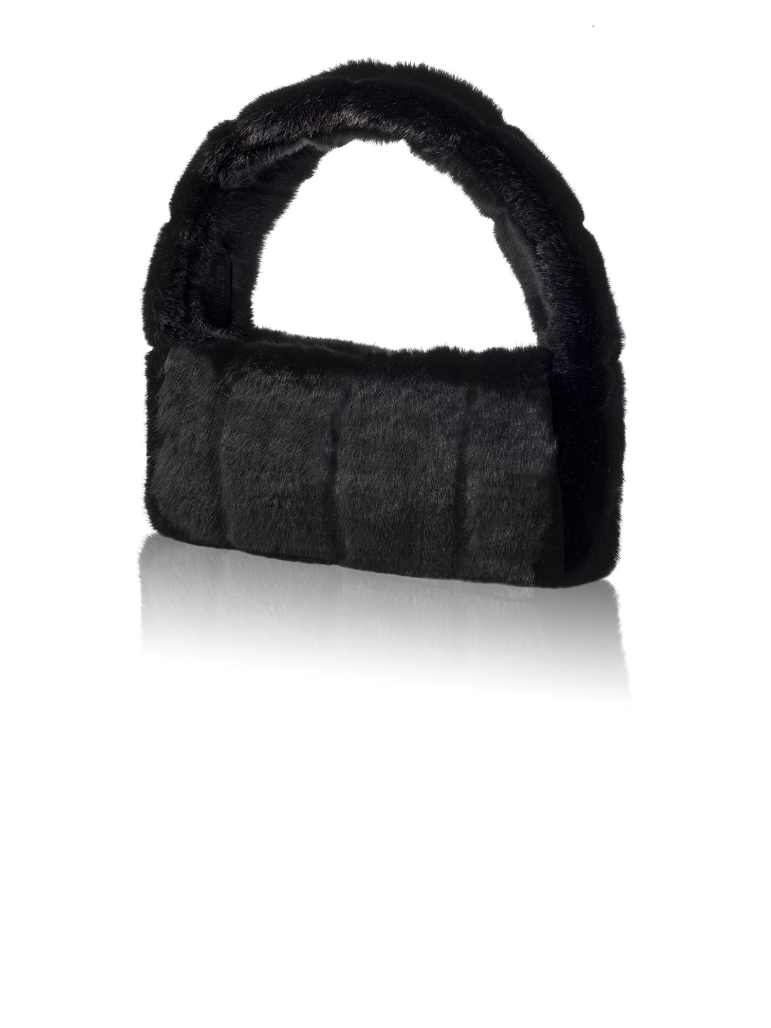 A Packshot Of Marei1998's Pampas Faux Fur Handbag In Black Color. Featuring Narrow Silhouette And Short Strap. A Chic Upgrade To Any Outfit. Front View.