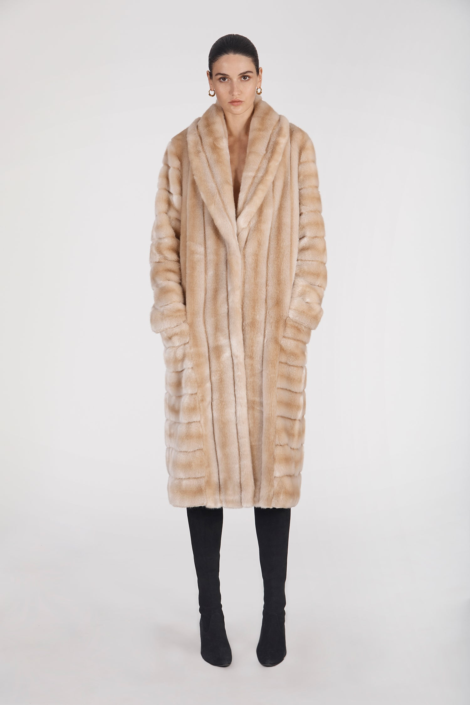 Marei1998's Timeless Echinacea Long Faux Fur Coat In The Classiest Natural/Beige Color. Featuring Calf Length, Oversized Silhouette And Wide Shawl Neckline. Investment Piece / Winter Essential. As Worn By The Model. Front View. Resort 2020 Collection - Furless Friendship.