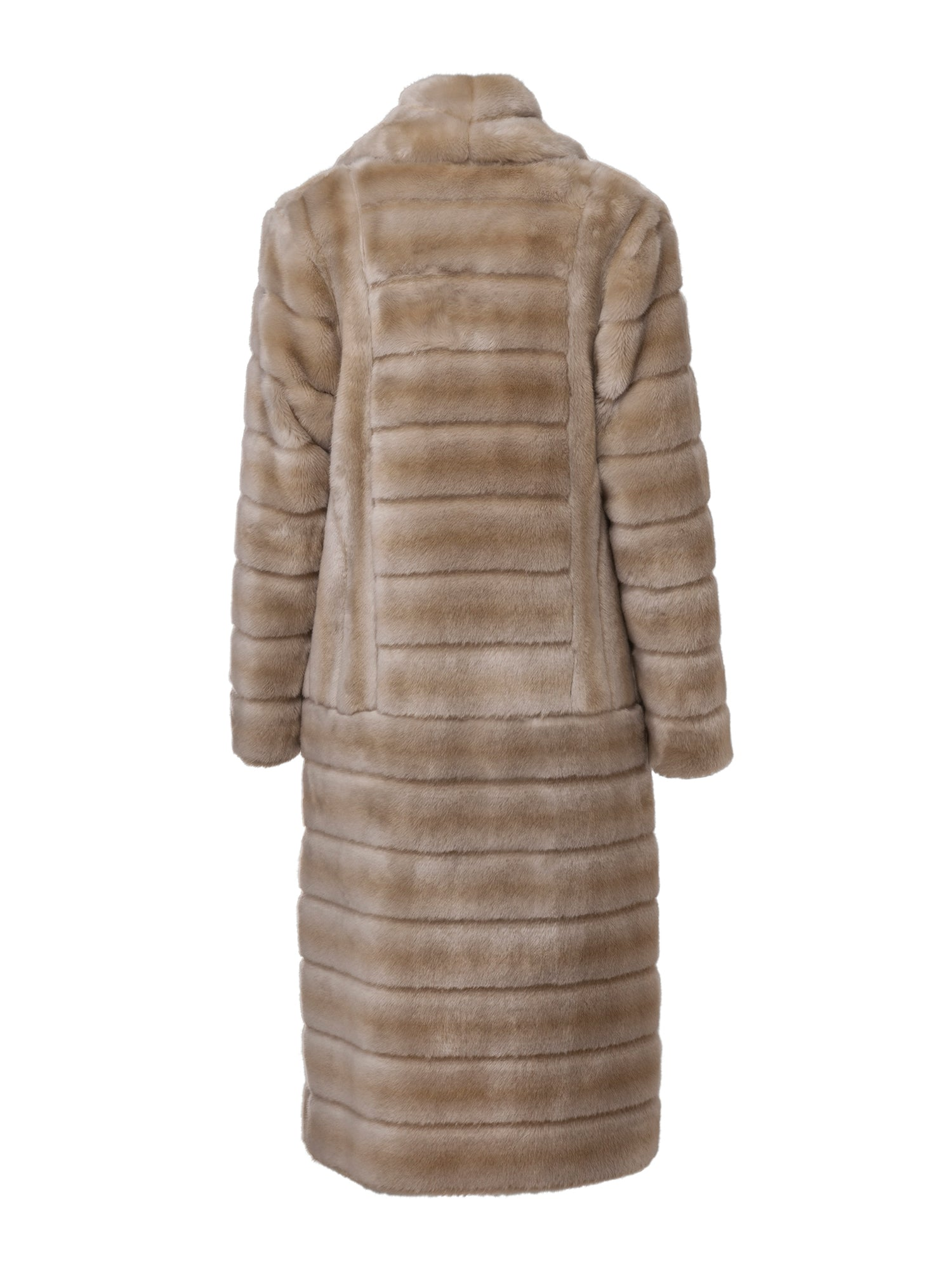 A Packshot Of Marei1998's Timeless Echinacea Long Faux Fur Coat In The Classiest Natural/Beige Color. Featuring Calf Length, Oversized Silhouette And Wide Shawl Neckline. Investment Piece / Winter Essential. Back View. Resort 2020 Collection - Furless Friendship.
