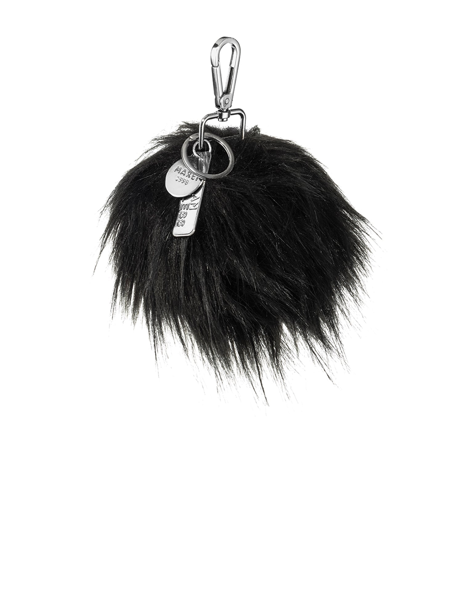 A Packshot Of Marei1998's FauxPom Bag Charm In Black Color. Featuring Nickle Metal Clip And Customized Marei1998 Logo Plates. Perfect As A Keyring Or Charm. Front View.