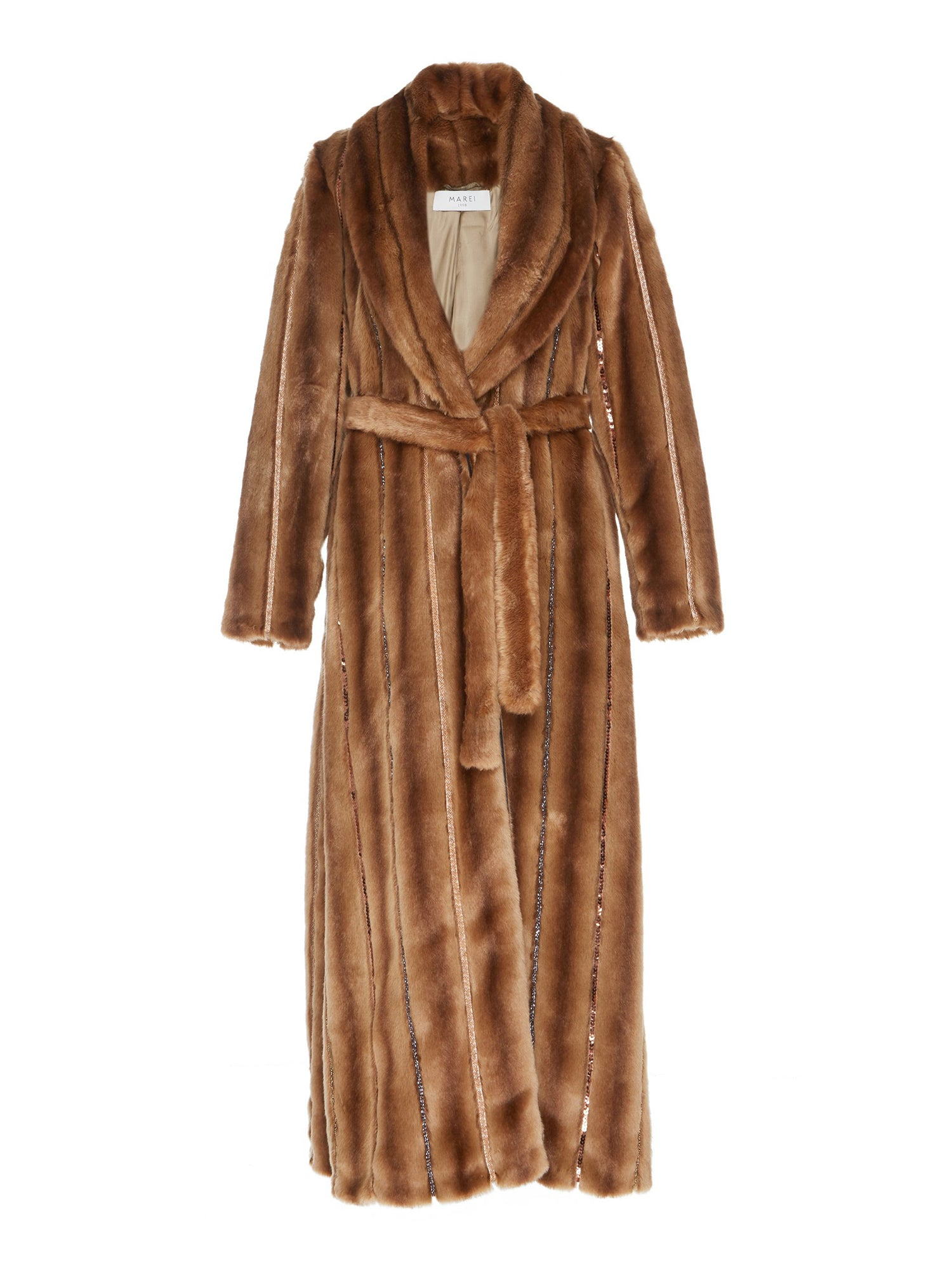 A Packshot Of Marei1998's Saponaria Faux Fur Coat In Classic Brown Hue. Made From Soft Faux Fur, Embellished With Bead Trims, It Features A Wrap Silhouette And A Notched Lapel Neckline. A Winter Essential.