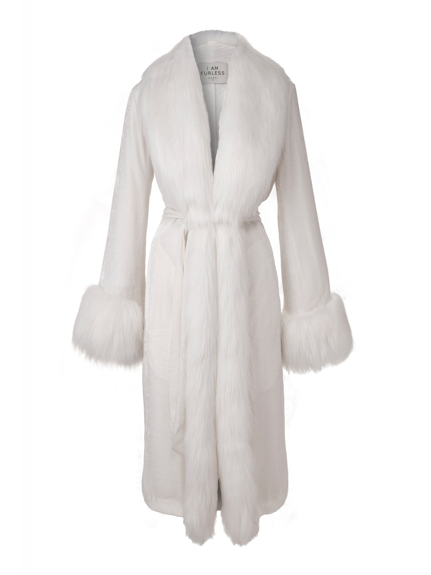 A Packshot Of Marei1998's Powderpuff Long Velvet Coat In White Color. The Silk Velvet Material, Combined With Fur Trims, Creates A Contemporary Vintage Look. Featuring Wide Lapel Collar And Bell Sleeves, It Is Finished With A Self-Tie Belt To Define The Waist. Front View. Resort 2020 Collection - Furless Friendship.