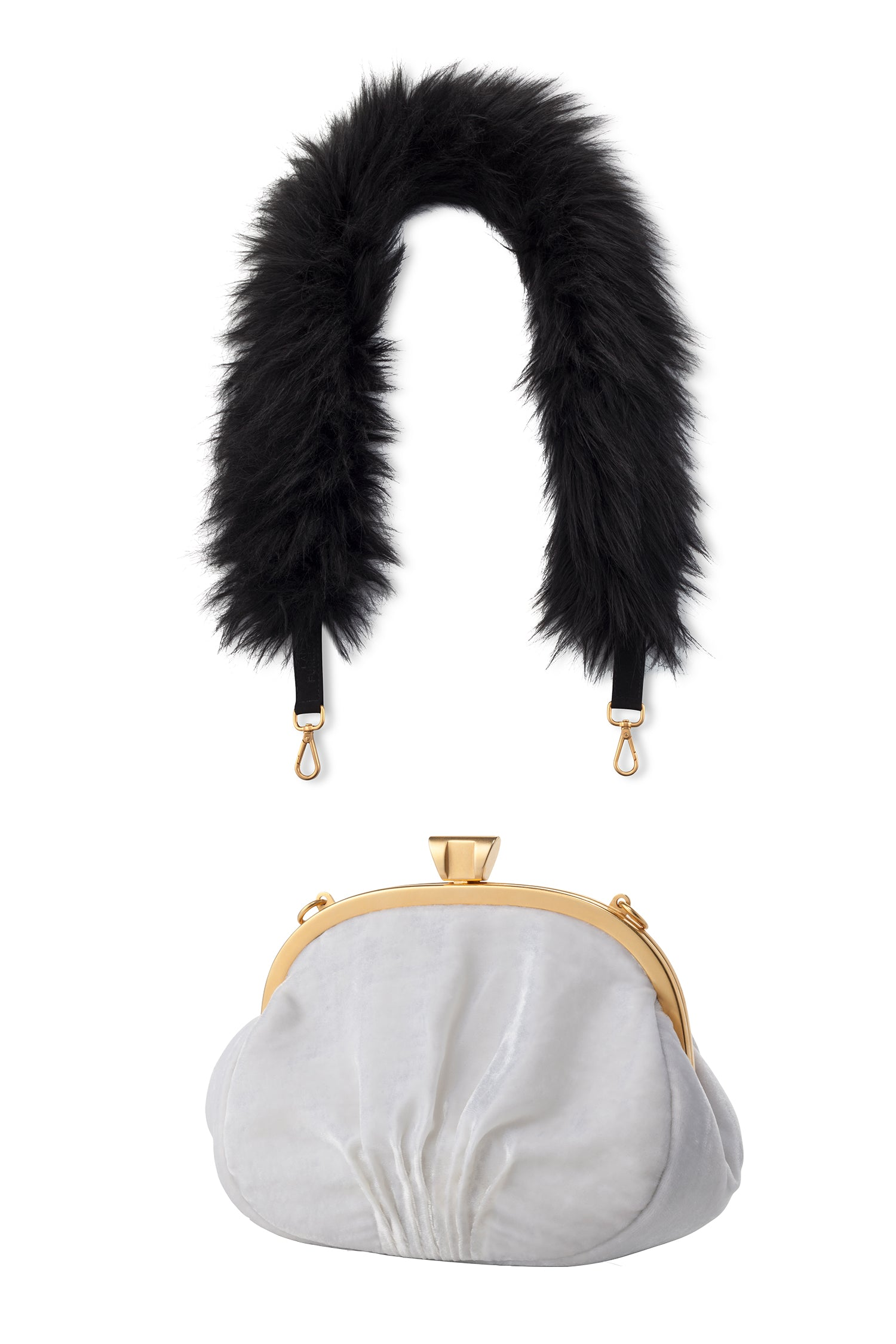 A Packshot Of Marei1998's Forget Me Not Velvet Purse In White Color. Made From Lustrous Velvet And Topped With Gold Plated Brass Clasp For Smooth Closure. The Puffy Silhouette Is Accentuated By A Lush Faux Fur Strap In Contrasting Black Color, Creating A Contemporary Vintage Look. Front View.