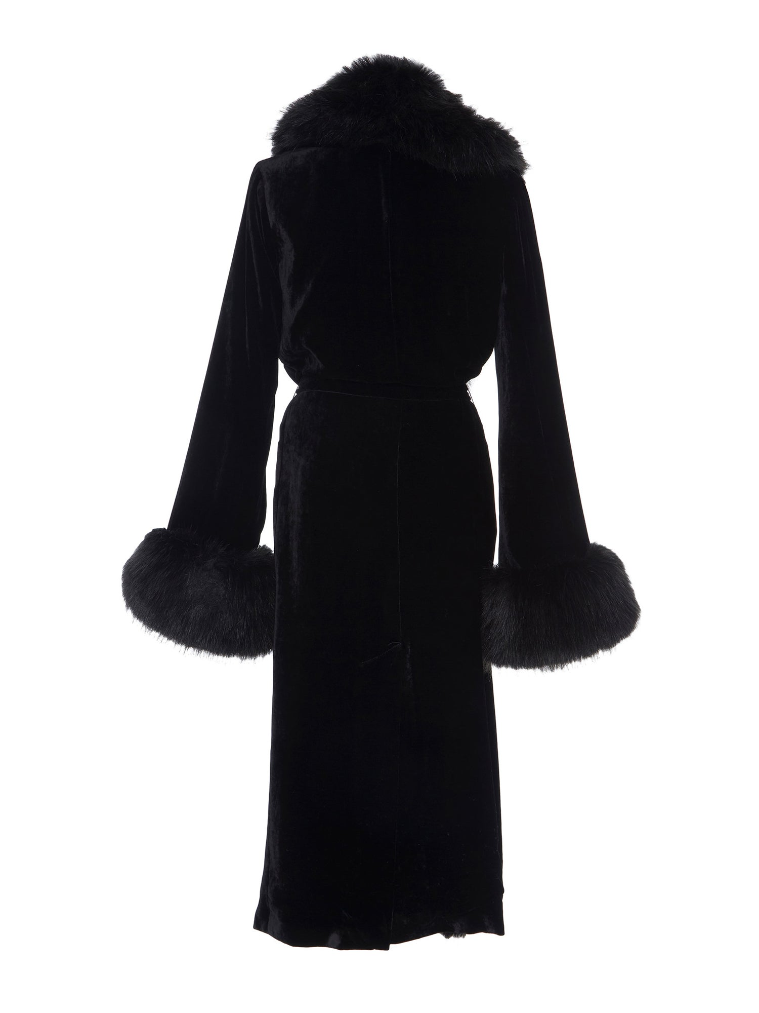 A Packshot Of Marei1998's Iconic Powderpuff Long Velvet Coat In Black Color. The Silk Velvet Material, Combined With Faux Fur Trims, Creates A Contemporary Vintage Look. Featuring Wide Lapel Collar And Bell Sleeves, It Is Finished With A Self-Tie Belt To Define The Waist. Back View. Resort 2020 Collection - Furless Friendship.