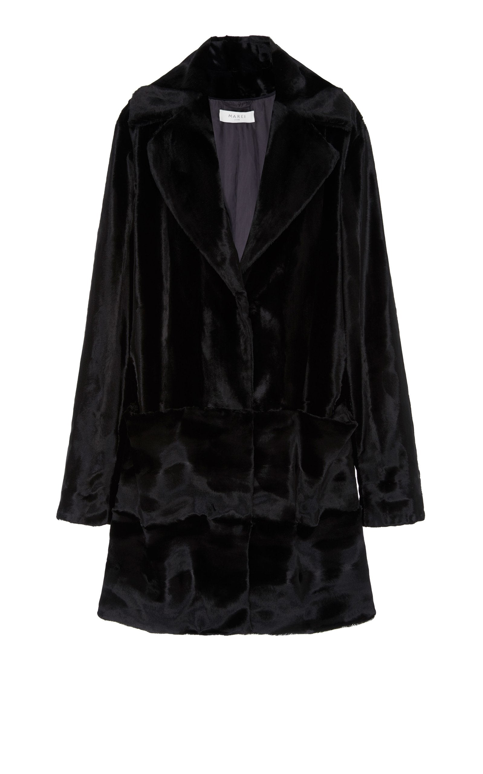 A Packshot Of Marei1998's Datura Long Faux Fur Coat In Black Color. Featuring A Slight A-Lined Silhouette, It Is Made From The Fluffiest Long Pile Faux Fur. Front View.