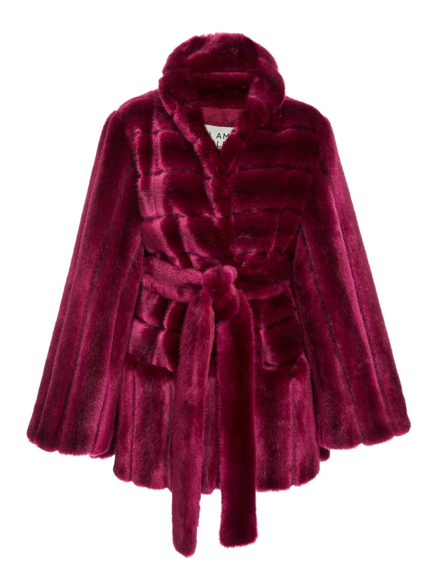 A Packshop Of Marei1998 Yoshino Cot In Bold Raspberry Hue. Perfect For Cold Weather, This It Is Made From Plush Faux Fur, Which Feels So Warm And Comfortable. Cut In A Slight A-Lined Shape And Fully Lined, It Is Ideal For Smooth Layering. Front View.