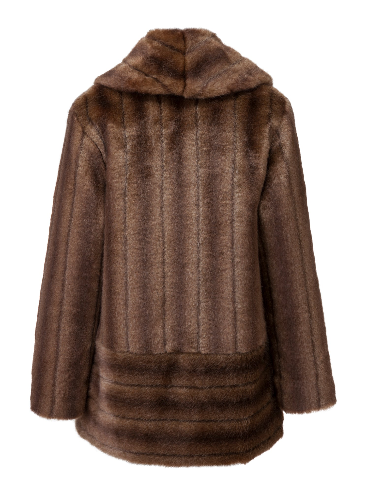 A Packshot Of Marei1998's Labiatae Faux Fur Coat In Classic Brown Color. Made From Plush Faux Fur, Which Feels So Warm And Comfortable. Cut In A Slight A-Line Shape And Fully Lined, It Is Ideal For Smooth Layering. Timeless Winter Investment. Back View.