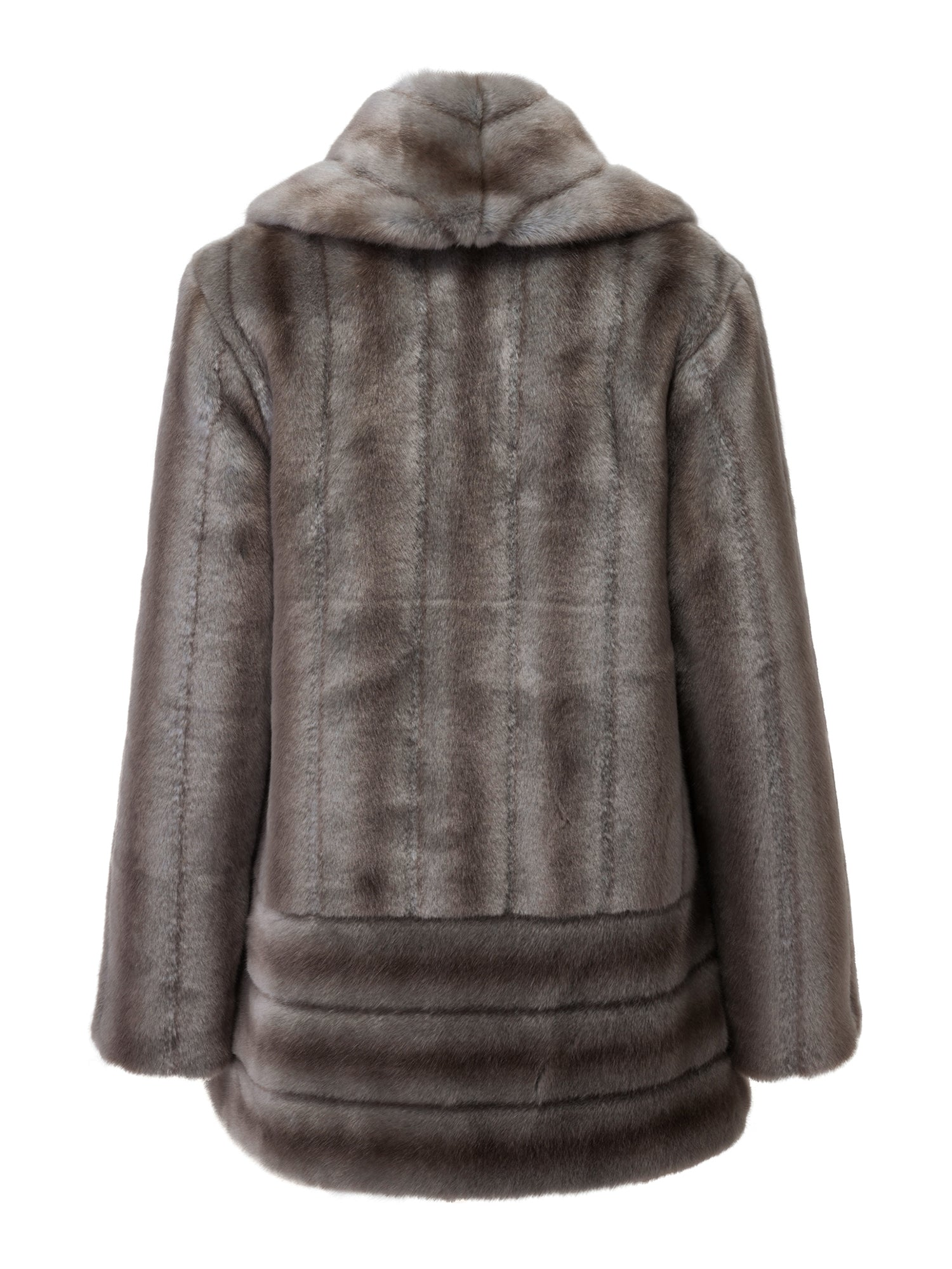 A Packshot Of Marei1998's Labiatae Faux Fur Coat In Classic Grey Color. Made From Plush Faux Fur, Which Feels So Warm And Comfortable. Cut In A Slight A-Line Shape And Fully Lined, It Is Ideal For Smooth Layering. Timeless Winter Investment. Back View.