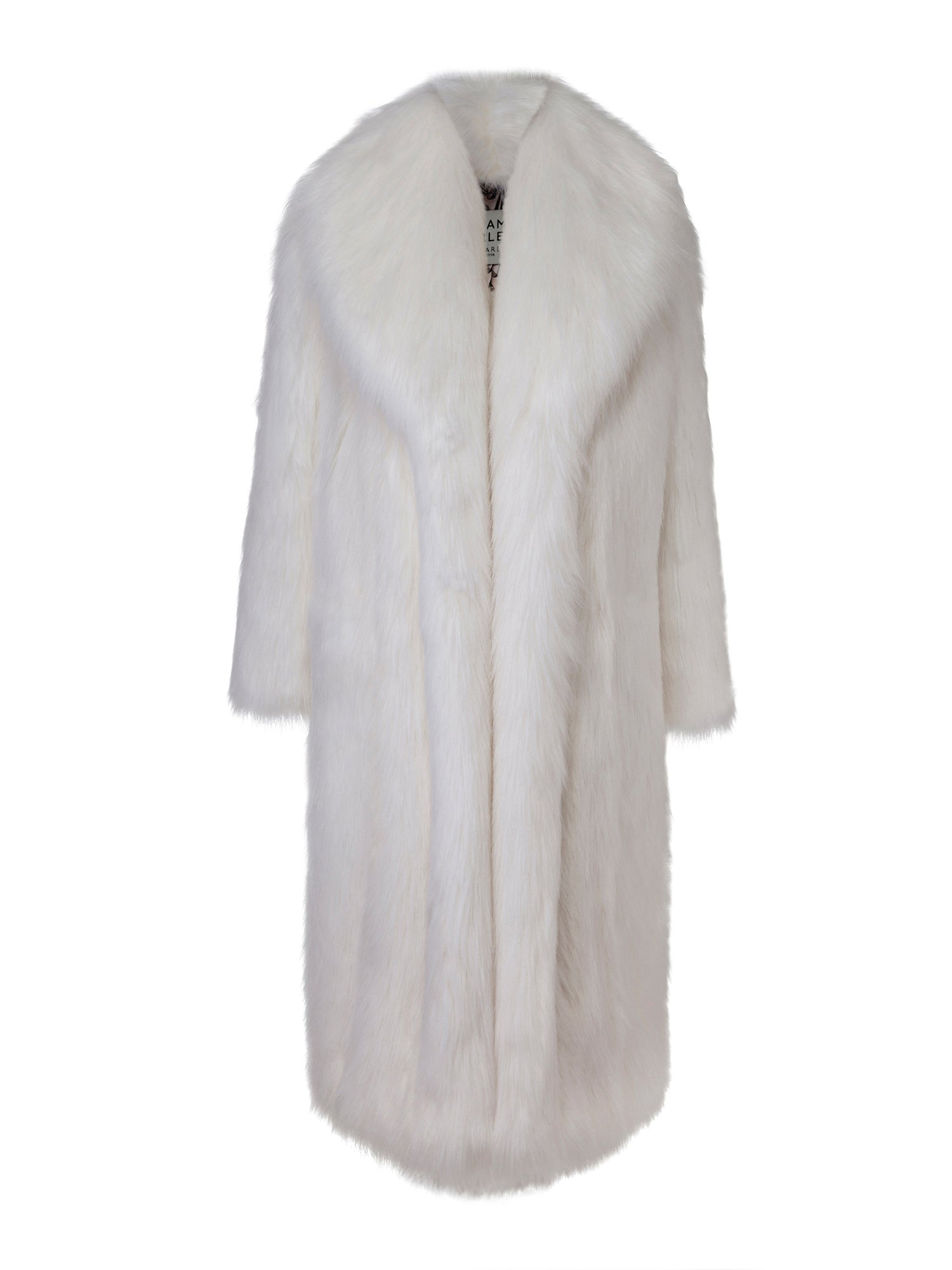 A Packshot Of Marei1998's Datura Long Faux Fur Coat In Ivory Color. Featuring A Slight A-Lined Silhouette, It Is Made From The Fluffiest Long Pile Faux Fur. Front View.