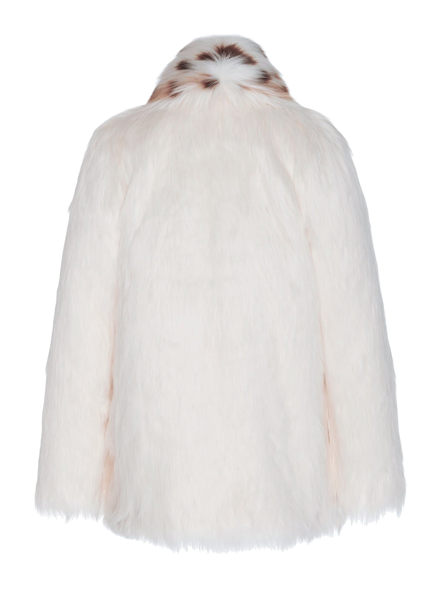 A Packshot Of Marei1998's Tiger Lily Faux Fur Coat In White Color. Featuring Oversized Silhouette And Shawl Collar. Spotted Collar Design Contrasts The Elegant White Hue, Creating A Chic Look. Back View. Resort 2020 Collection - Furless Friendship.