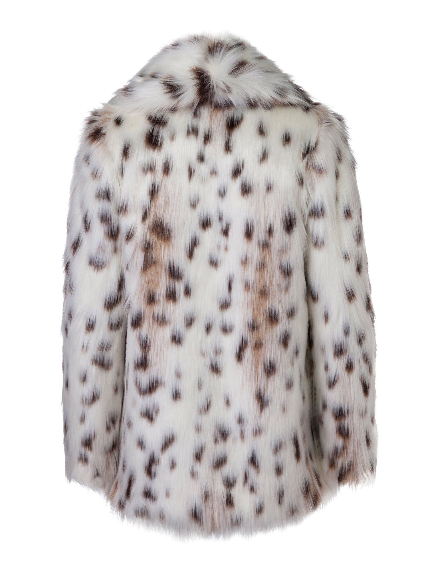 A Packshot Of Marei1998's Tiger Lily Faux Fur Coat In Linca Color. Featuring Spotted Design, Oversized Silhouette And Shawl Collar. Wardrobe Staple. Back View. Resort 2020 Collection - Furless Friendship.