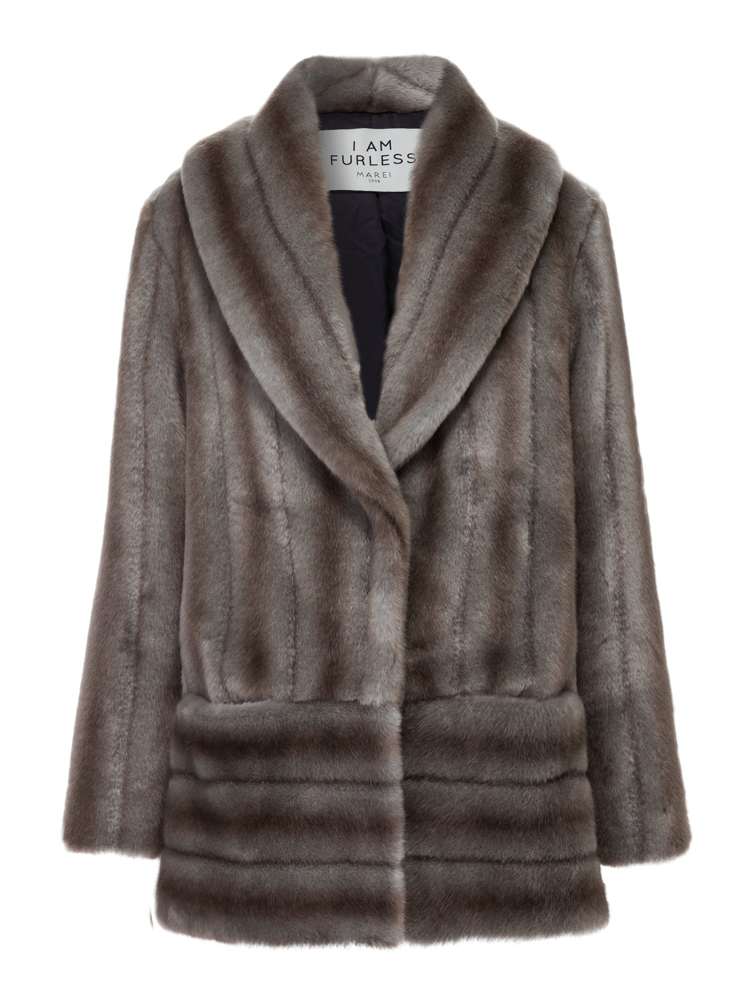 A Packshot Of Marei1998's Labiatae Faux Fur Coat In Classic Grey Color. Made From Plush Faux Fur, Which Feels So Warm And Comfortable. Cut In A Slight A-Line Shape And Fully Lined, It Is Ideal For Smooth Layering. Timeless Winter Investment. Front View.
