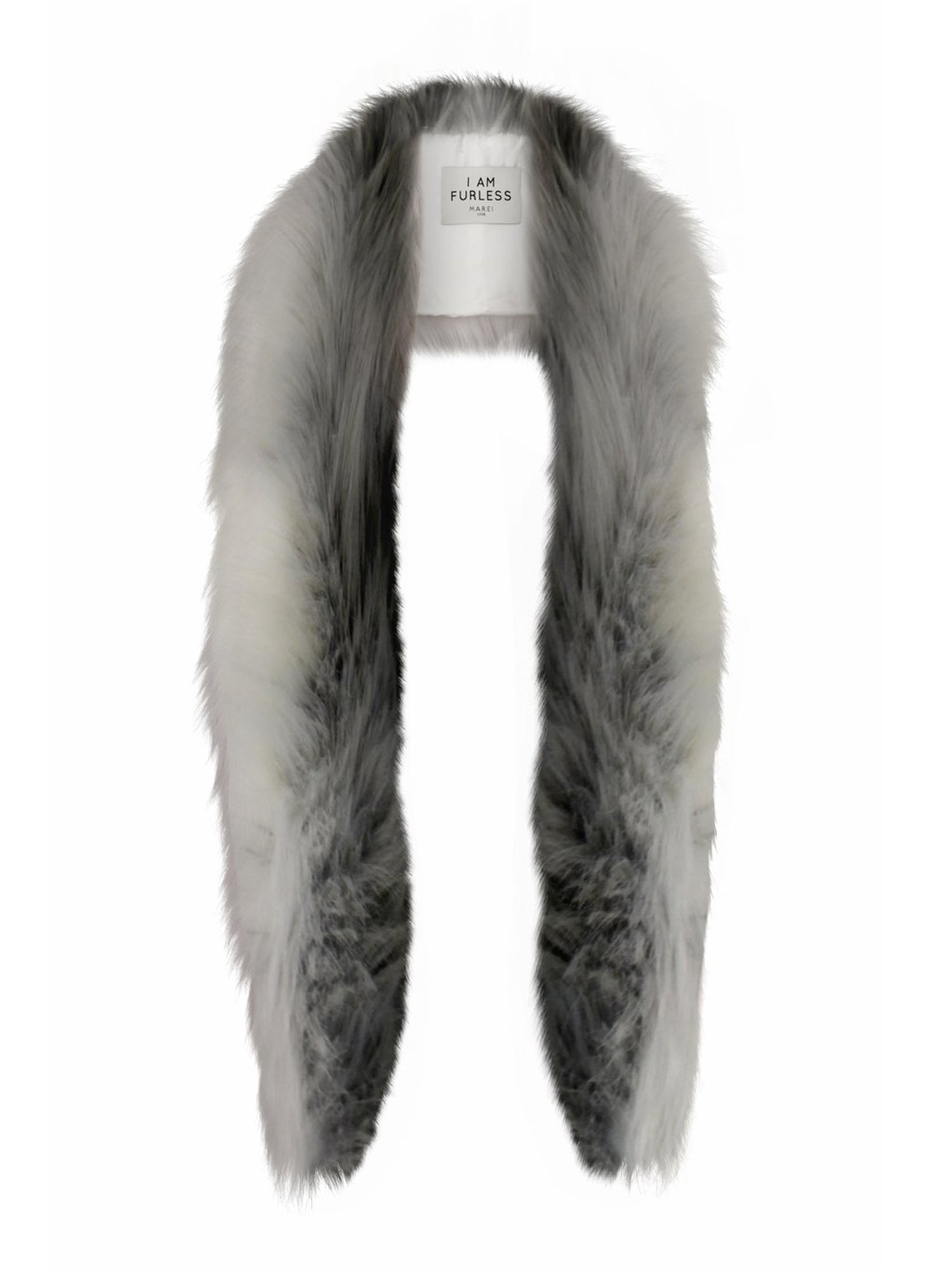 A Packshot Of Marei1998's Mimosa Faux Fur Scarf In Mixed Color. Made From Plush Faux Fur, It Features Lush Longhaired Texture And Wide Silhouette Design That Is Incredibly Soft And Comfortable. Front View.