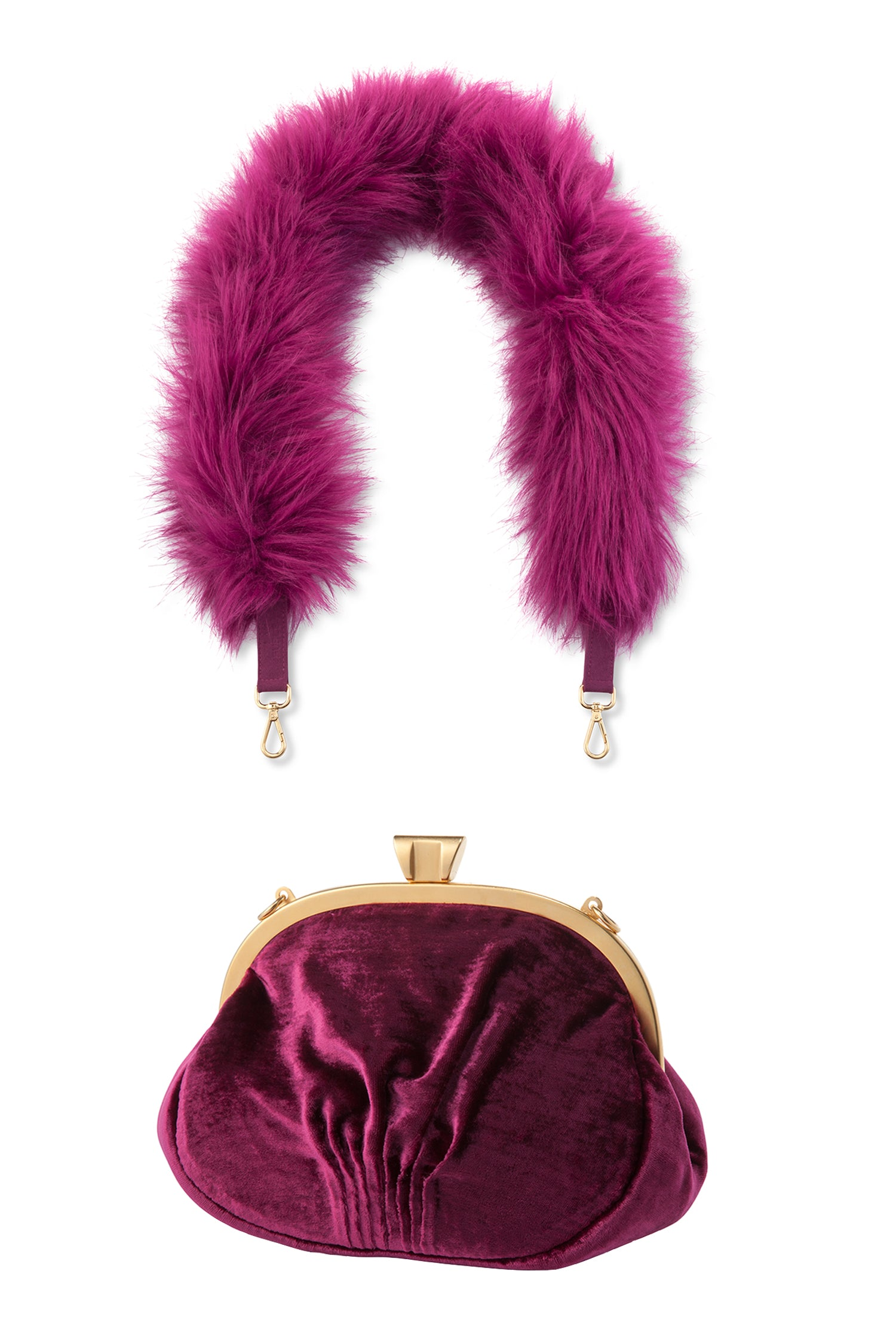 A Packshot Of Marei1998's Forget Me Not Velvet Purse In Raspberry Color. Made From Lustrous Velvet And Topped With Gold Plated Brass Clasp For Smooth Closure. The Puffy Silhouette In Bold Raspberry Color Is Accentuated By A Lush Faux Fur Strap, Creating A Contemporary Vintage Look. Front View.