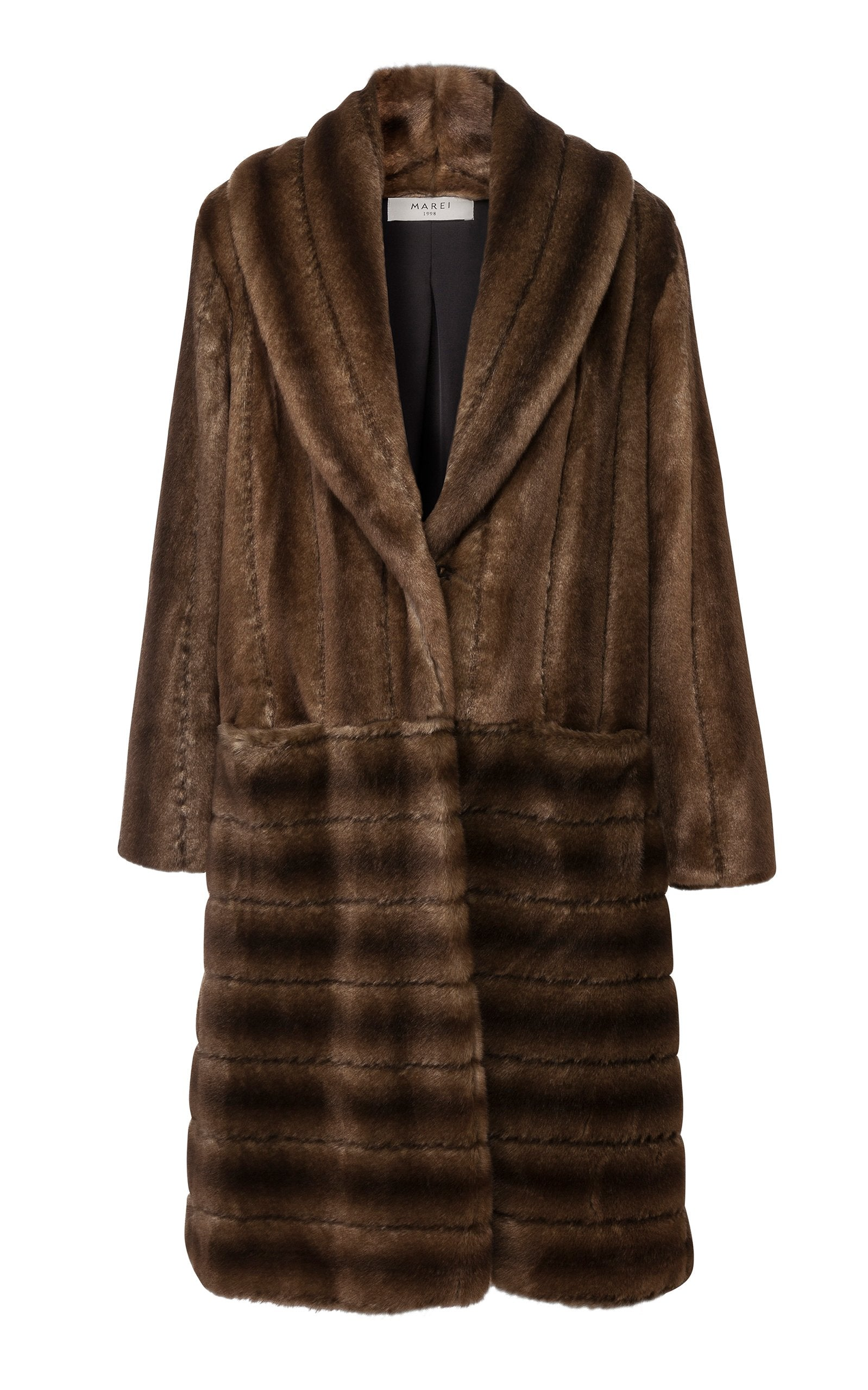 A Packshot Of Marei1998's Labiatae Faux Fur Coat In Classic Brown Color. Made From Plush Faux Fur, Which Feels So Warm And Comfortable. Cut In A Slight A-Line Shape And Fully Lined, It Is Ideal For Smooth Layering. Timeless Winter Investment. Front View.
