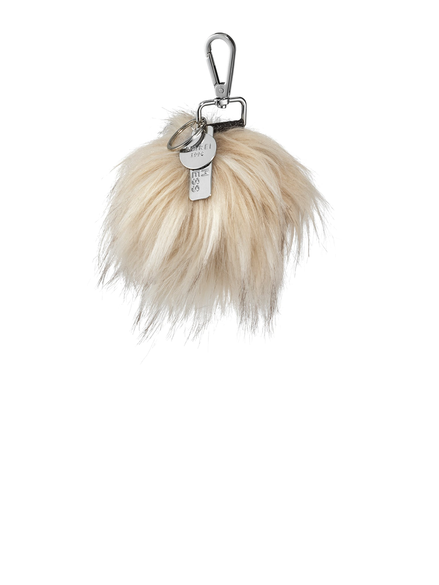 A Packshot Of Marei1998's FauxPom Bag Charm In Neutral/Beige Color. Featuring Nickle Metal Clip And Customized Marei1998 Logo Plates. Perfect As A Keyring Or Charm. Front View.