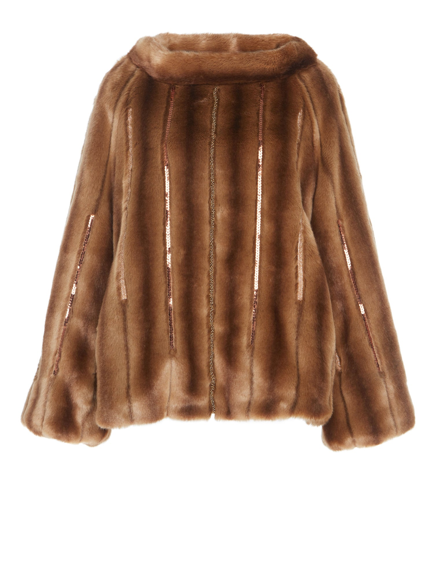 A Packshot Of Marei1998's Achillea Embellished Faux Fur Pullover In Brown Hue. Made From Soft Faux Fur, It Features Flared Sleeves And Wide Neckline.