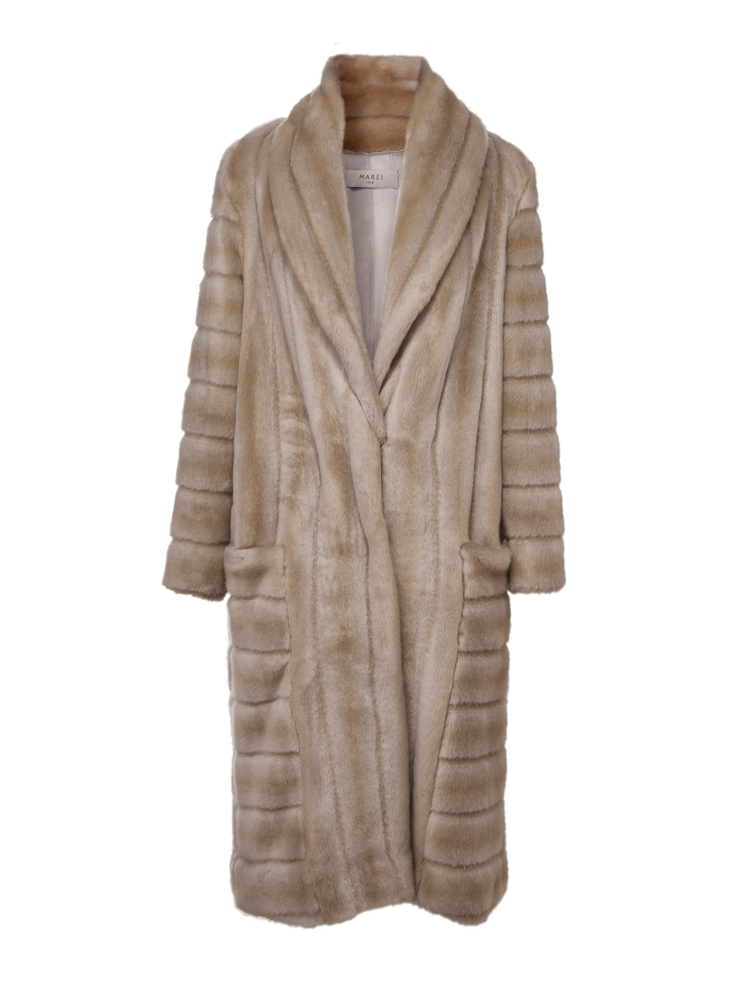 A Packshot Of Marei1998's Timeless Echinacea Long Faux Fur Coat In The Classiest Natural/Beige Color. Featuring Calf Length, Oversized Silhouette And Wide Shawl Neckline. Investment Piece / Winter Essential. Front View. Resort 2020 Collection - Furless Friendship.