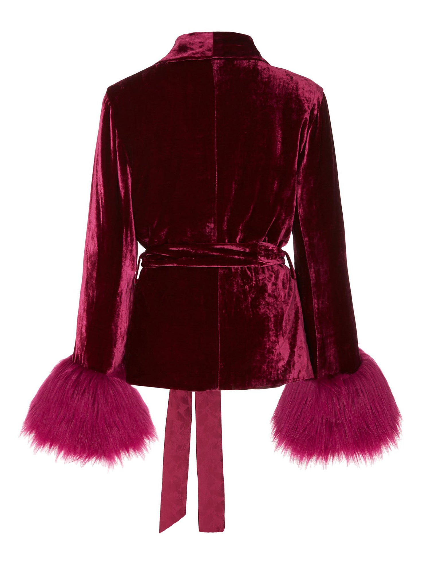 A Packshot Of Marei1998's Clarkia Silk Velvet Jacket In Bold Raspberry Color. Featuring Lapel Collar and Bell Sleeves, Trimmed With Faux Fur. Matching Tip-up Belt To Define The Waist. Back View. Resort 2020 Collection - Furless Friendship.