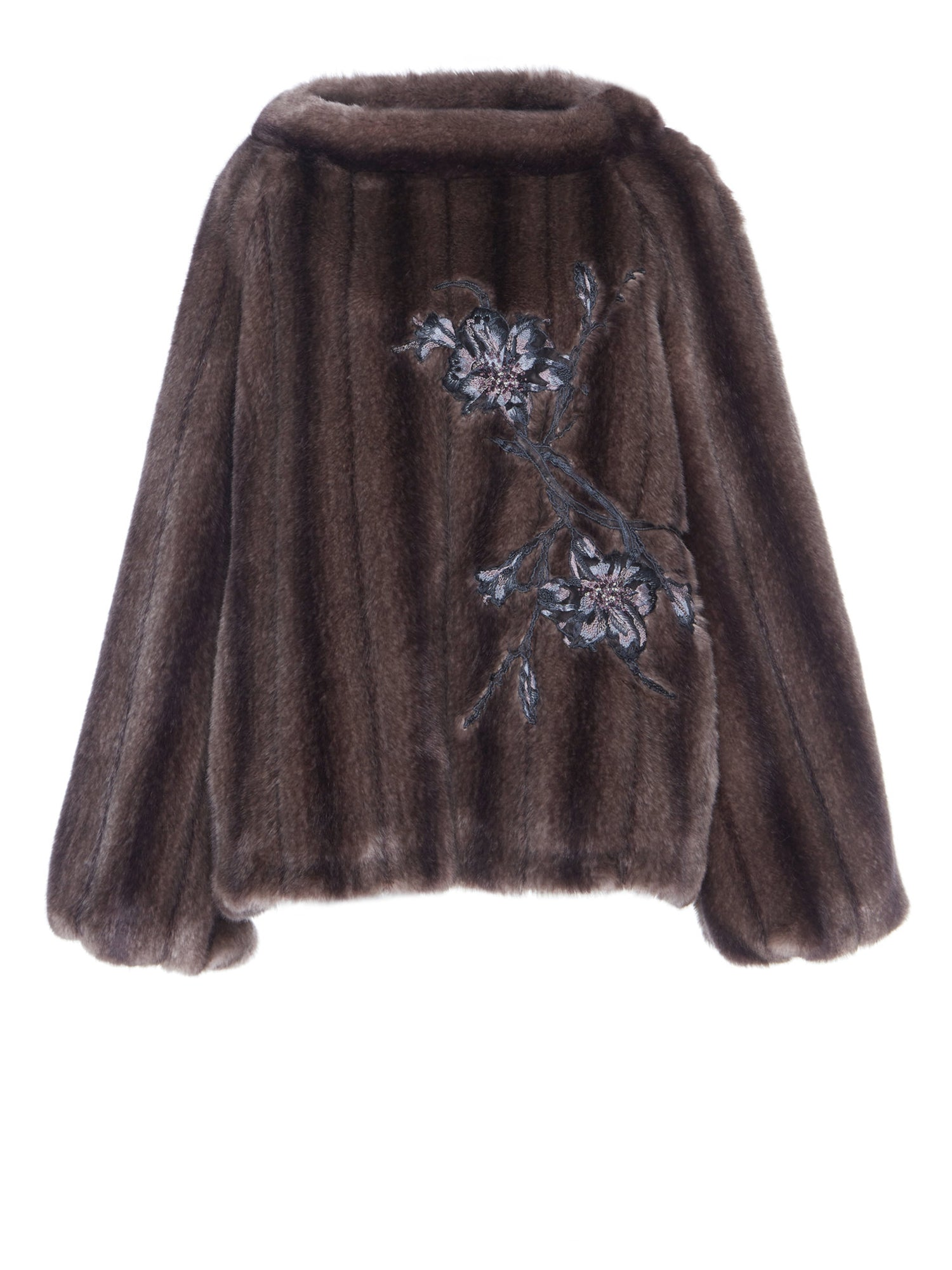 A Packshot Of Marei1998's Achillea Hand Embroidered Faux Fur Pullover In Smoked Purple Hue. Made From Soft Faux Fur, It Features Flared Sleeves And Wide Neckline.