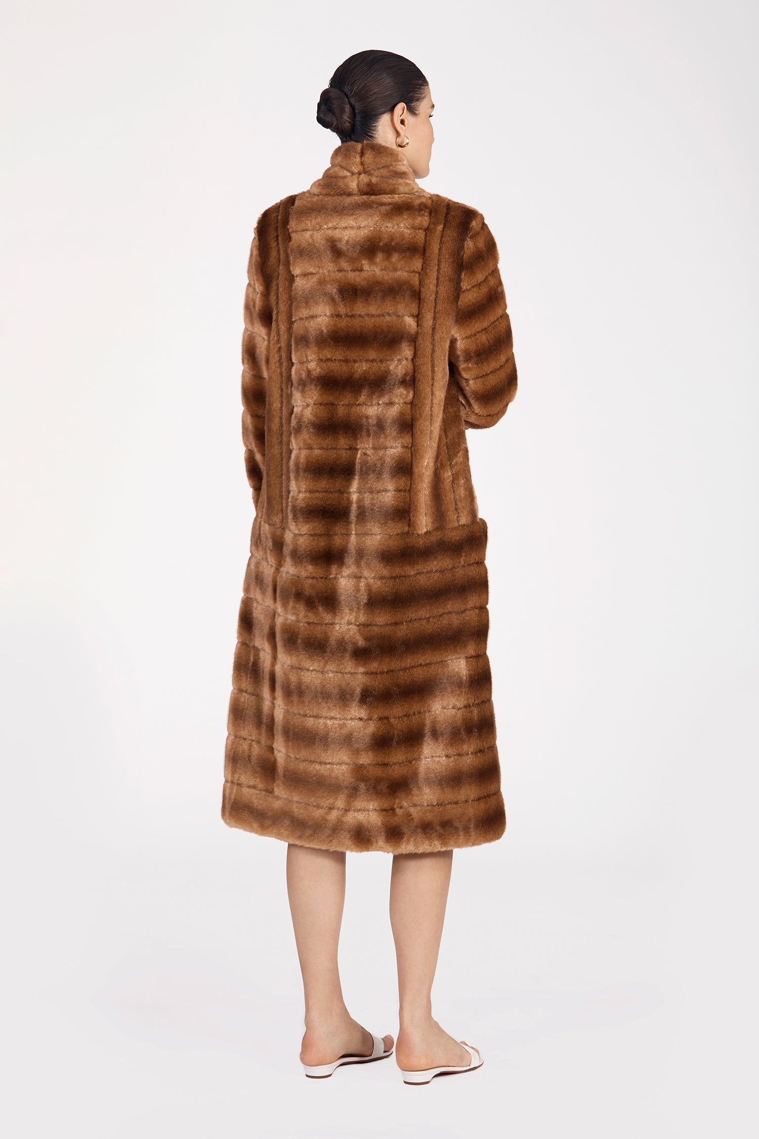 Marei1998's Timeless Echinacea Long Faux Fur Coat In Classic Brown Color. Featuring Oversized Silhouette And Wide Shawl Neckline. Investment Piece / Winter Essential. As Worn By The Model. Back View. Resort 2020 Collection - Furless Friendship.