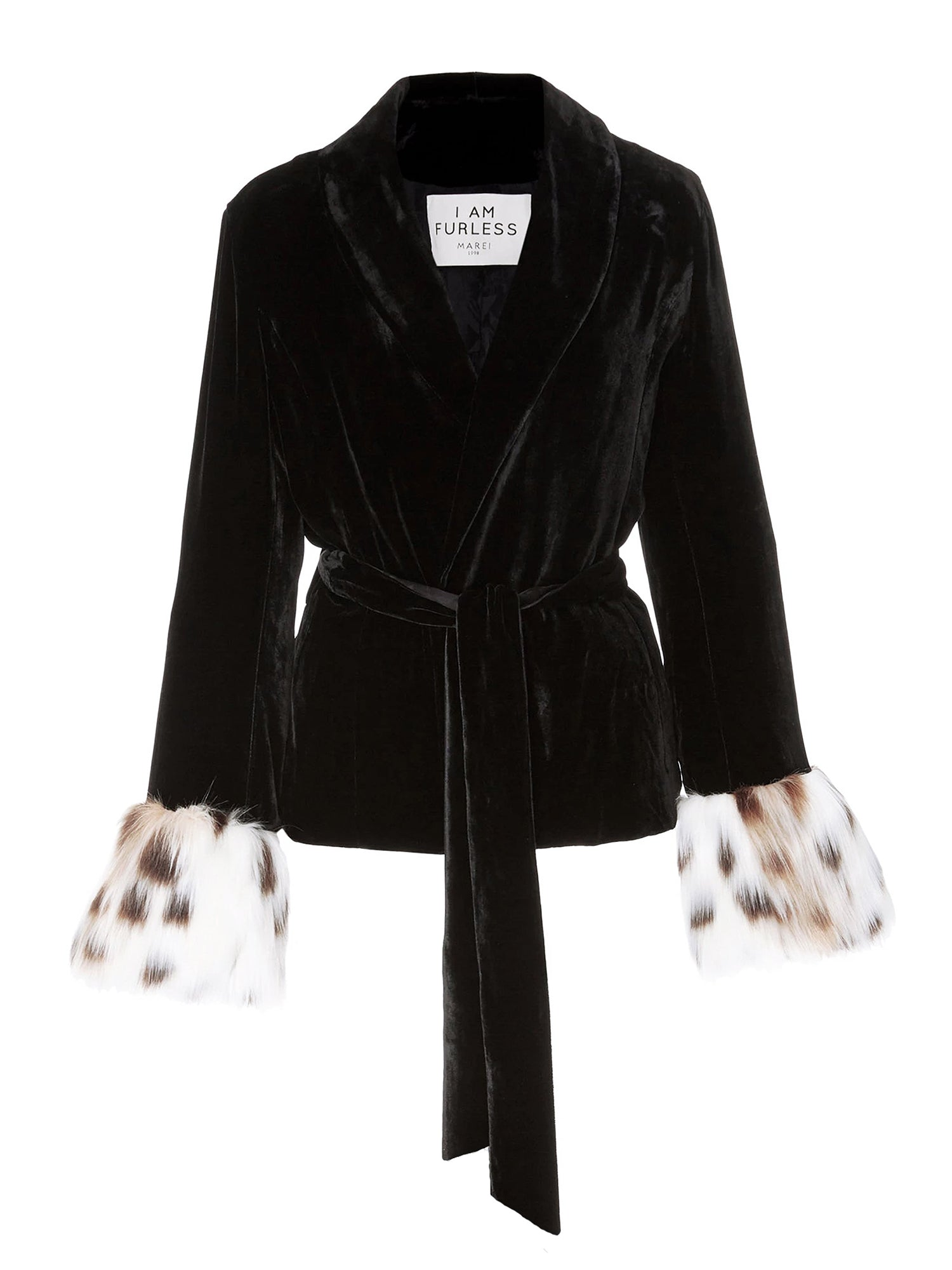 A Packshot Of Marei1998's Clarkia Silk Velvet Jacket In Black Color. Featuring Lapel Collar and Bell Sleeves, Trimmed With Contrasting Linca Color (Delicate Leopard Design) Faux Fur. Matching Tip-up Belt To Define The Waist. Front View. Resort 2020 Collection - Furless Friendship.