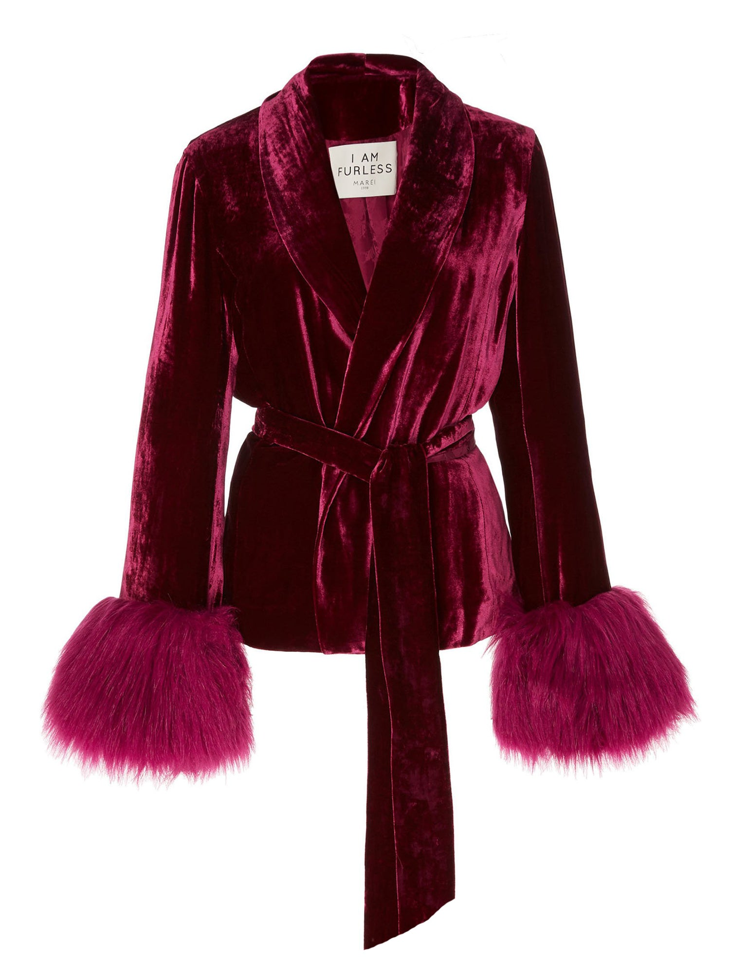 A Packshot Of Marei1998's Clarkia Silk Velvet Jacket In Bold Raspberry Color. Featuring Lapel Collar and Bell Sleeves, Trimmed With Faux Fur. Matching Tip-up Belt To Define The Waist. Front View. Resort 2020 Collection - Furless Friendship.