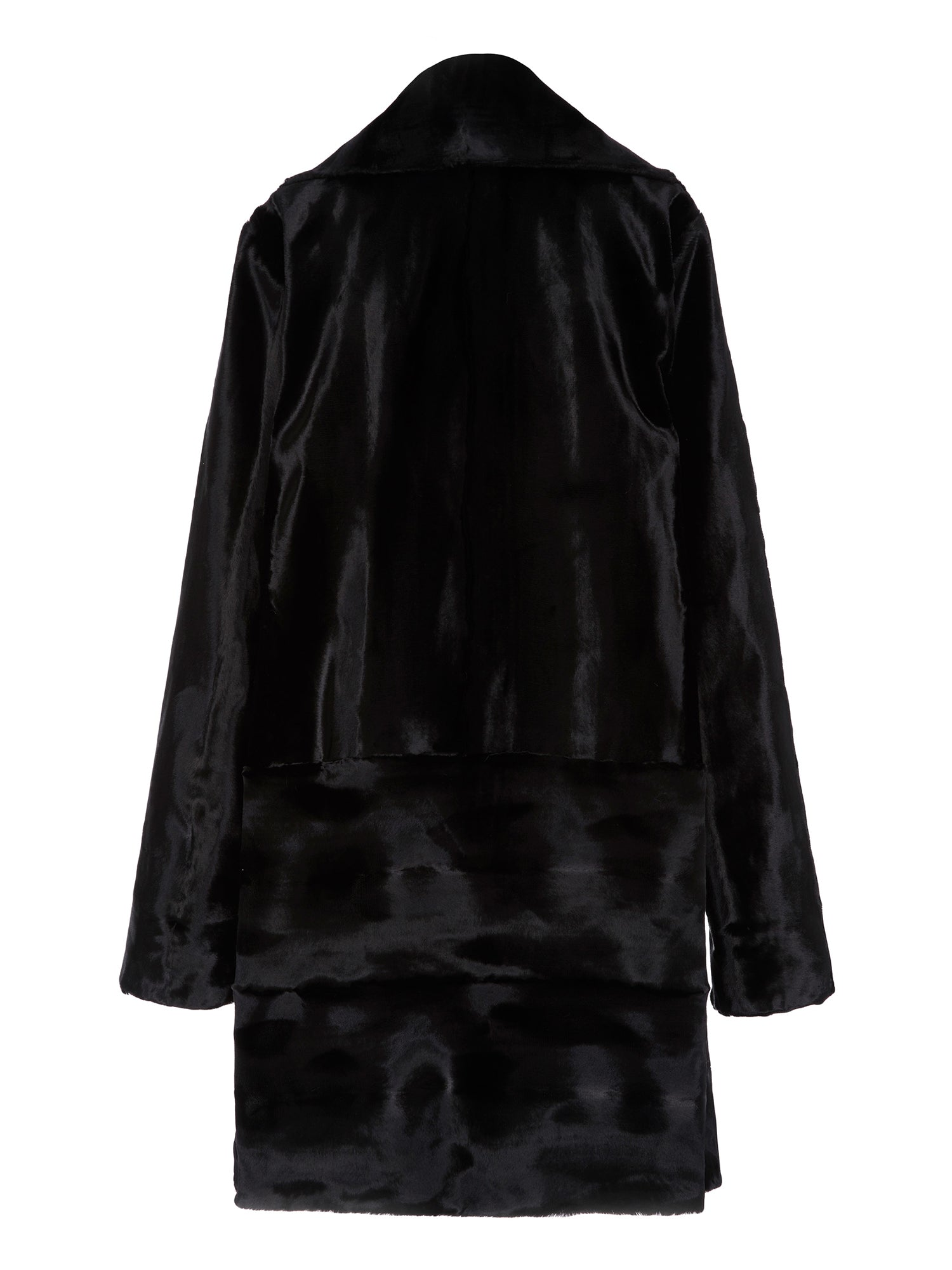 A Packshot Of Marei1998 Begonia Coat In Black Color. This Unique Design Is Crafted From Italian Velvet Texture Fabric In Lustrous Black Color. Cut In A Slight Oversized Shape, Enhanced By Deep Neckline And Dropped Shoulders, This Coat Is An Ideal Winter Piece. The Smart Silhouette And Minimalist Design Result In A Classic Signature Style. Back View.