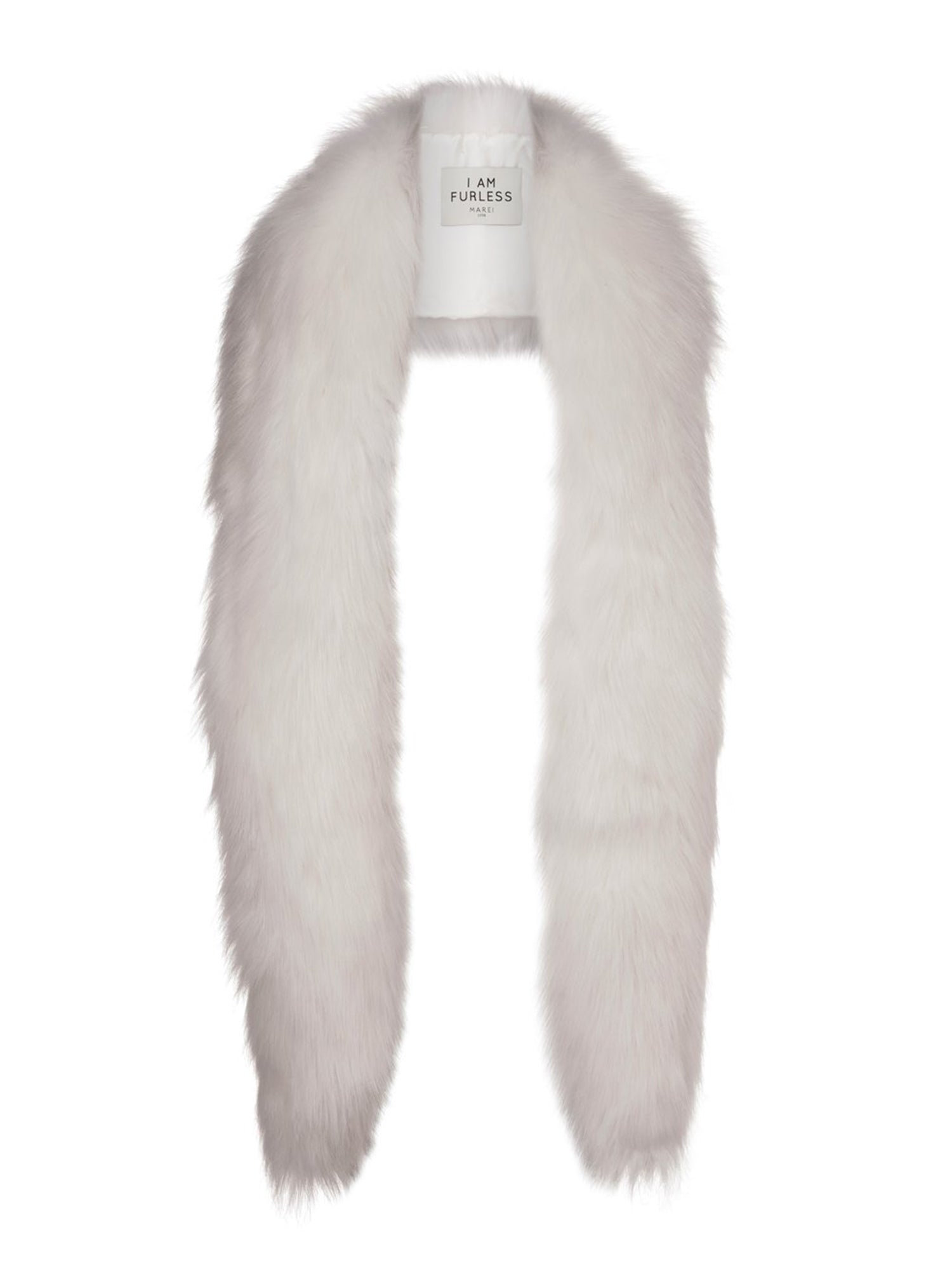 A Packshot Of Marei1998's Mimosa Faux Fur Scarf In White Color. Made From Plush Faux Fur, It Features Lush Longhaired Texture And Wide Silhouette Design That Is Incredibly Soft And Comfortable. Front View.