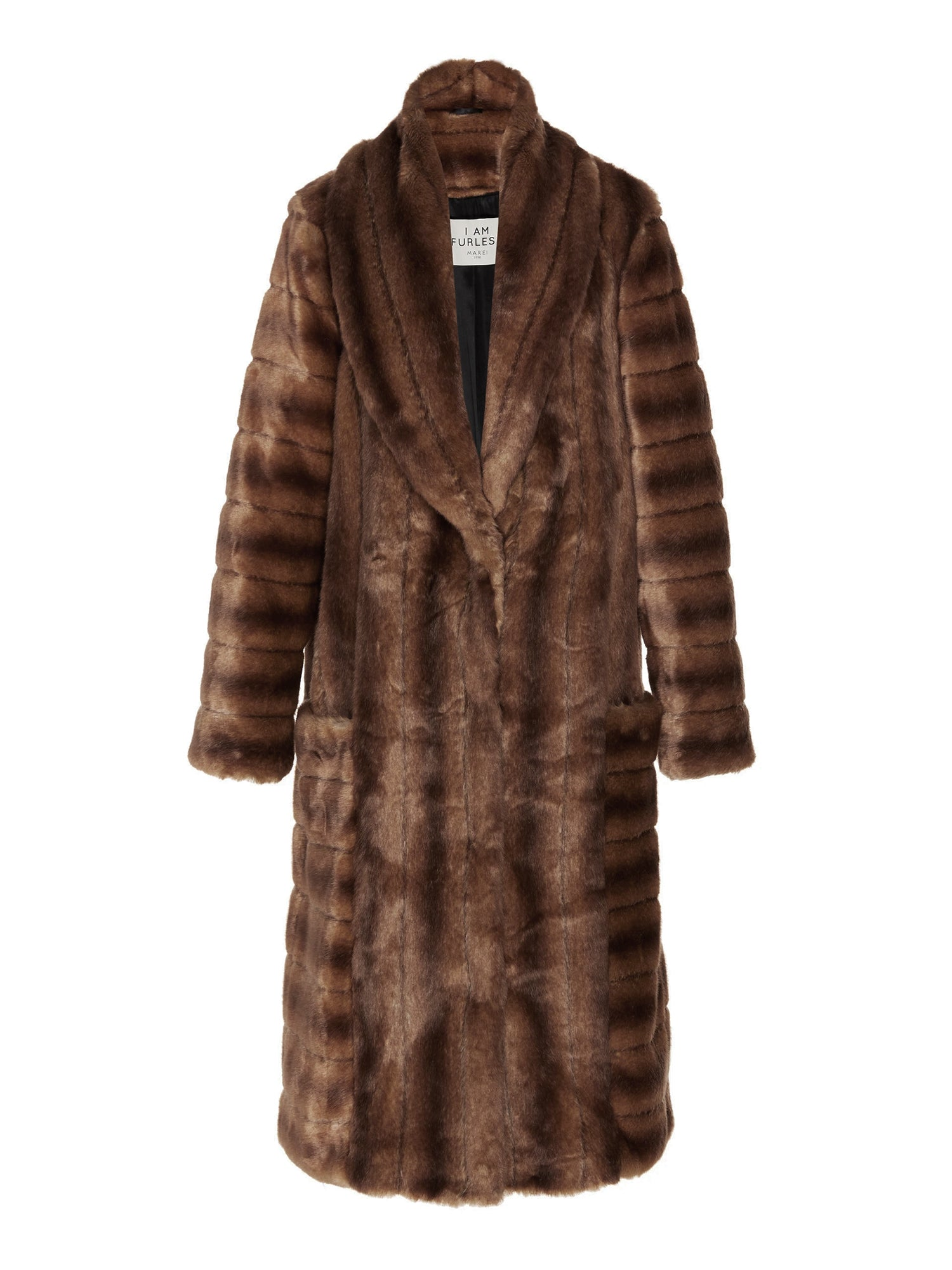 A Packshot Of Marei1998's Timeless Echinacea Long Faux Fur Coat In Classic Brown Color. Featuring Oversized Silhouette And Wide Shawl Neckline. Investment Piece / Winter Essential. Front View. Resort 2020 Collection - Furless Friendship.