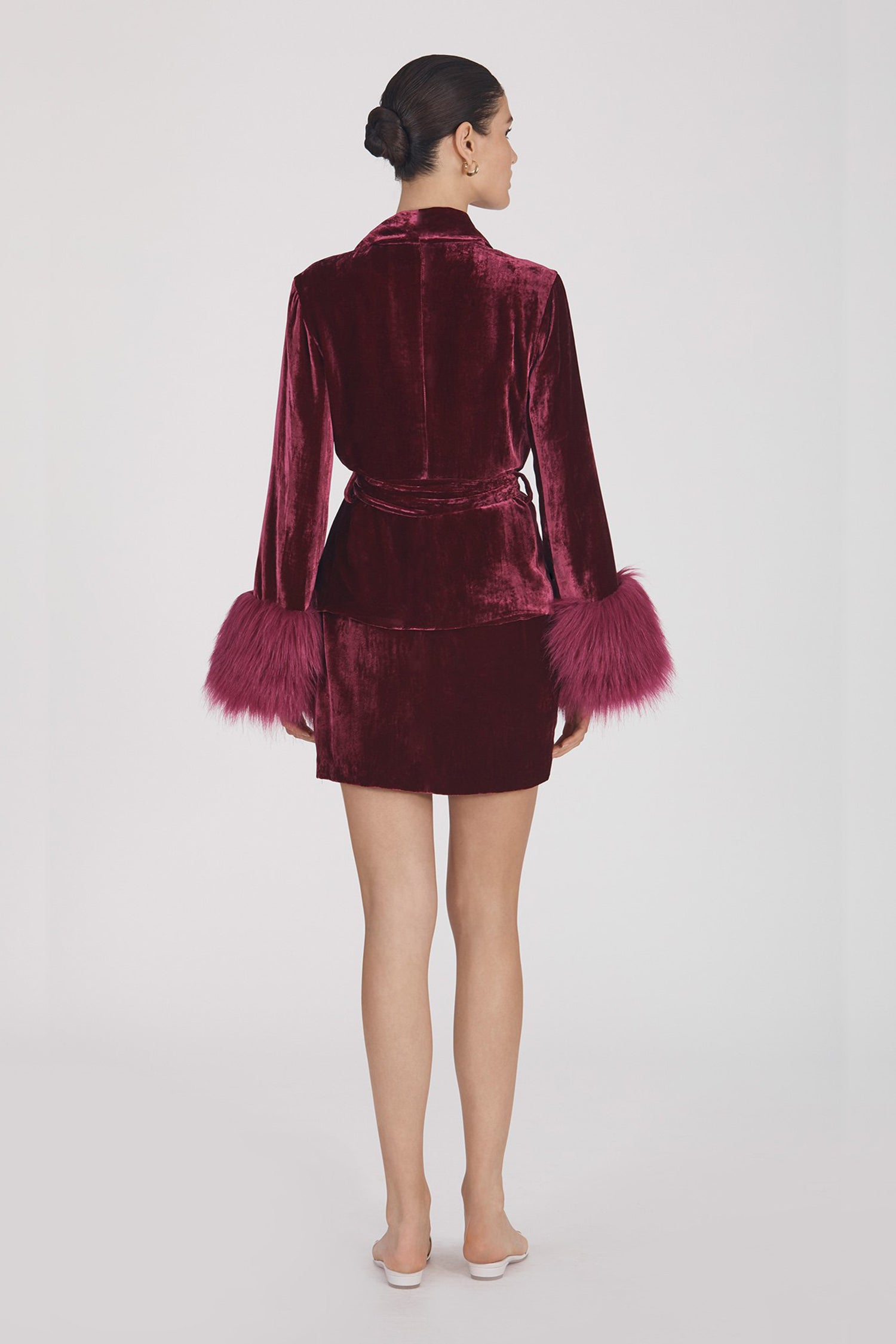 Marei1998's Clarkia Silk Velvet Jacket In Bold Raspberry Color. Featuring Lapel Collar and Bell Sleeves, Trimmed With Faux Fur. Matching Tip-up Belt To Define The Waist. Back View. Resort 2020 Collection - Furless Friendship.