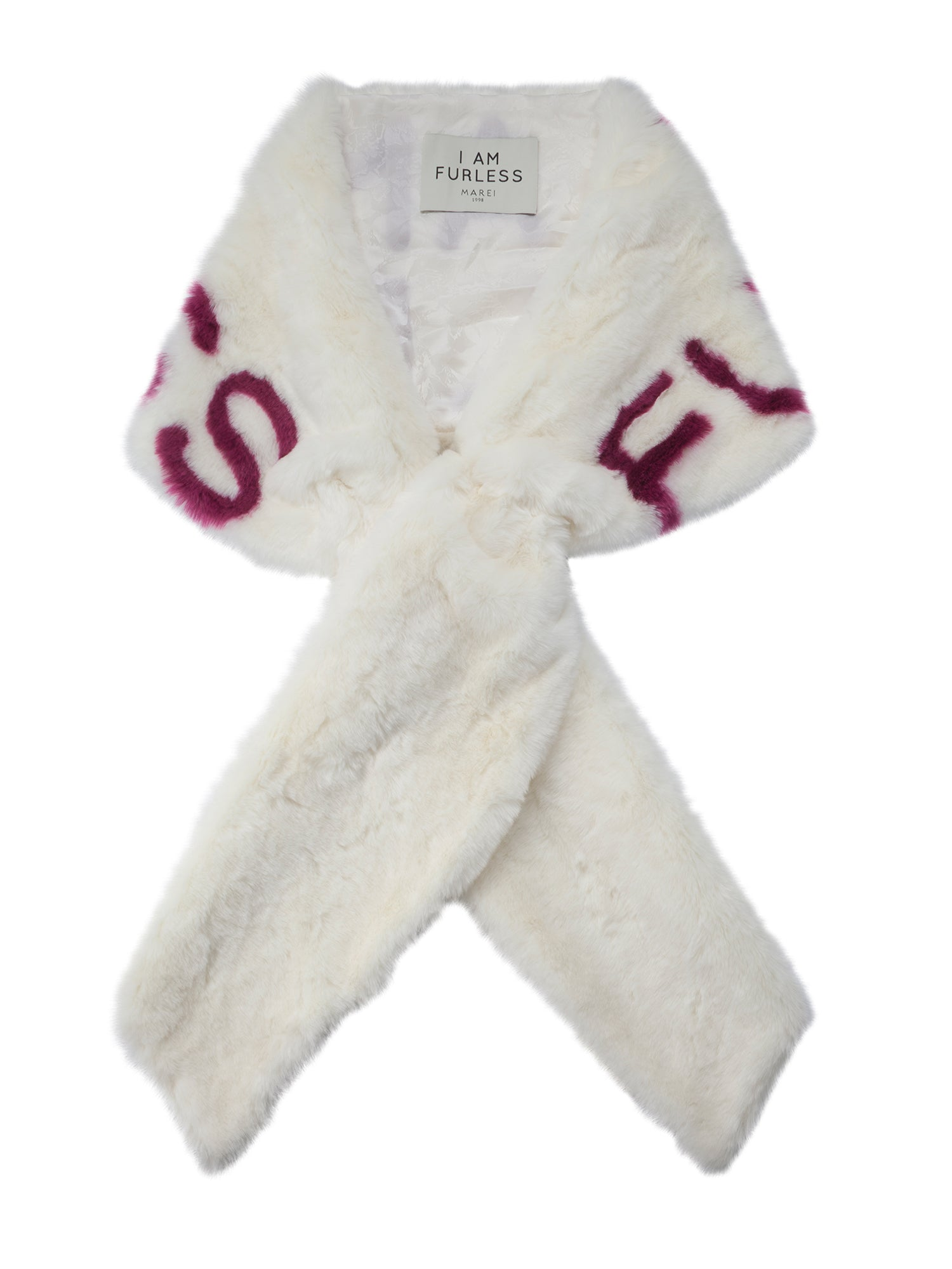 A Packshot Of Marei1998's Furless Faux Fur Stole In White Color. Exclusively Designed As Part Of Marei1998's Furless Label, This Stole Is A Bold Statement Piece. Cut In A Wide Silhouette, It Is Crafted From Plush Faux Fur In White Color, Featuring Jacquard Design In Bold Raspberry..