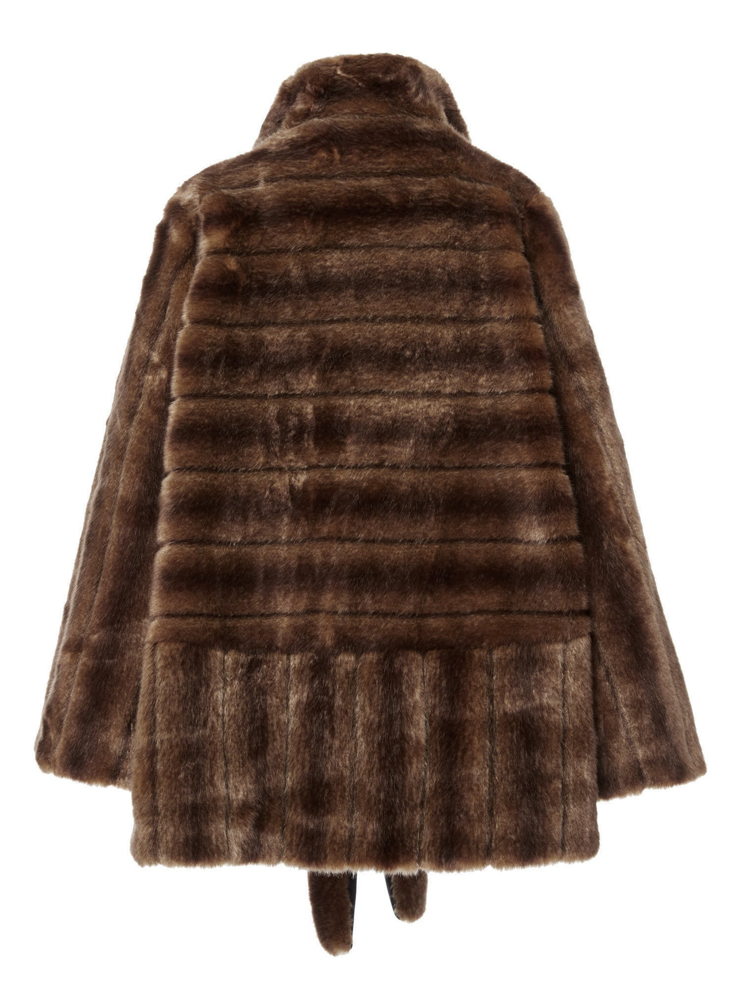A Packshop Of Marei1998 Yoshino Cot In Classic Brown Hue. Perfect For Cold Weather, This It Is Made From Plush Faux Fur, Which Feels So Warm And Comfortable. Cut In A Slight A-Lined Shape And Fully Lined, It Is Ideal For Smooth Layering. Back View.