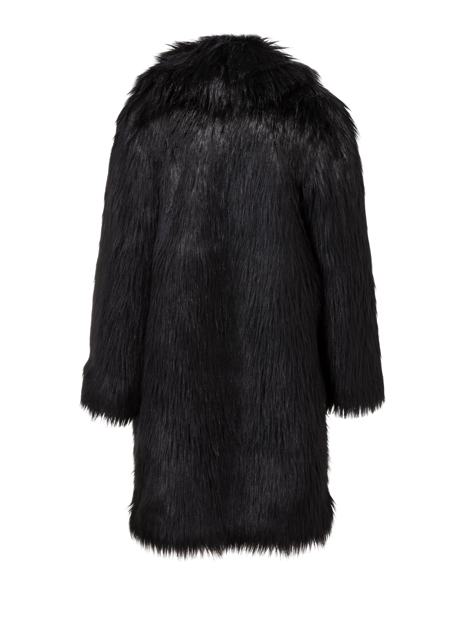 A Packshot Of Marei1998's Datura Long Faux Fur Coat In Black Color. Featuring A Slight A-Lined Silhouette, It Is Made From The Fluffiest Long Pile Faux Fur. Back View.