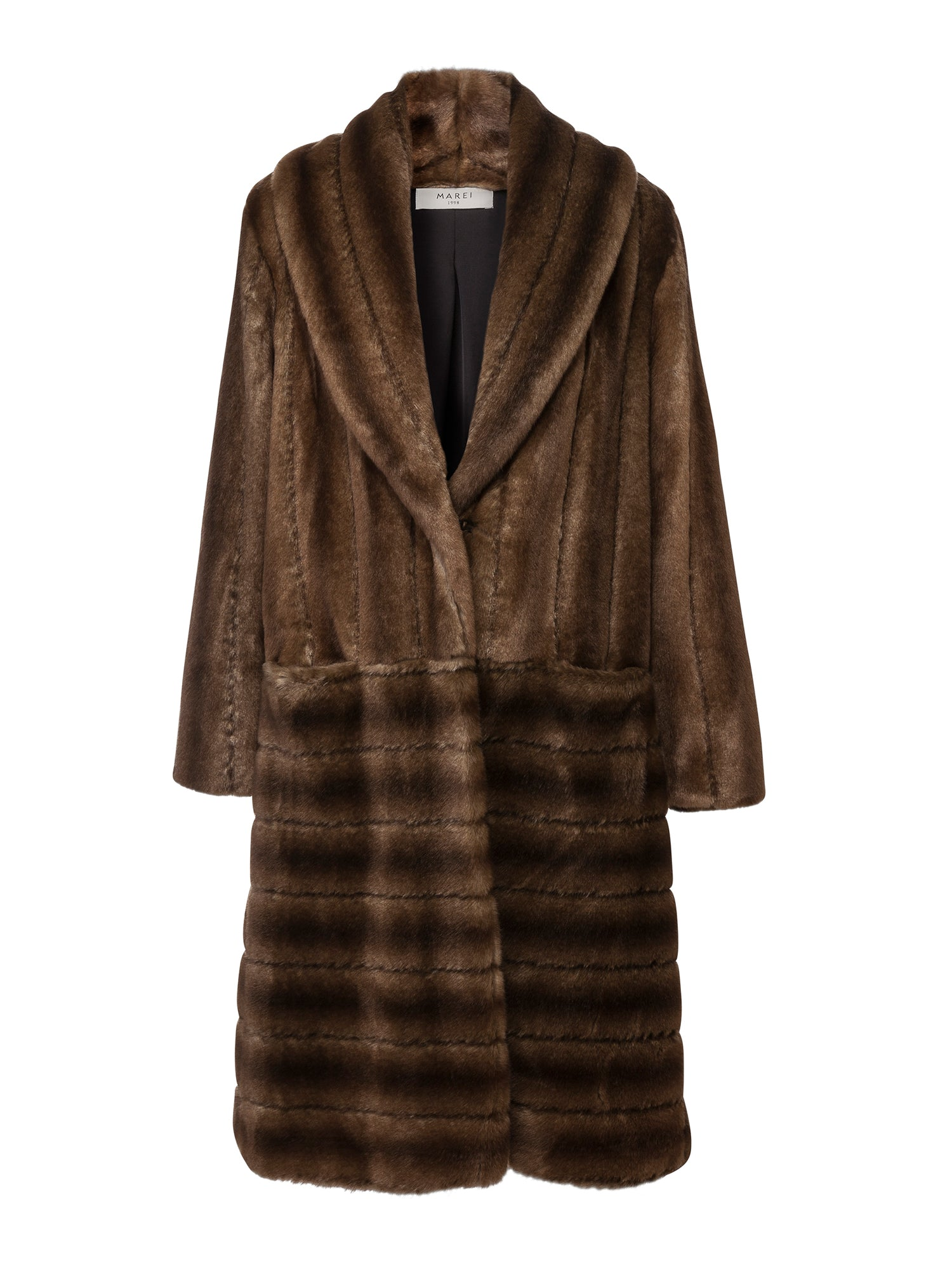 A Packshot Of Marei1998's Legendary Deutzia Long Faux Fur Coat In Classic Brown Color. Made From Plush Faux Fur, Which Feels So Warm And Comfortable. The Full Length Silhouette Creates A Contemporary Vintage Look. Cut In A Slight A-Line Shape And Fully Lined, It Is Ideal For Smooth Layering. Timeless Winter Investment. Front View.